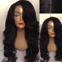 Long Side Parting Wavy Human Hair Lace Front Wig -