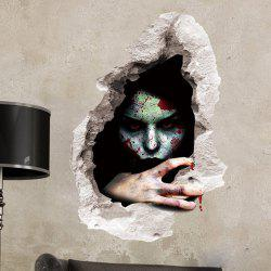 Scary Ghost 3D Broken Wall Sticker For Bedroom -