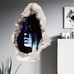 3D Halloween Ghost Broken Wall Sticker For Bedroom - BLACK