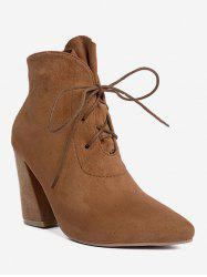 Tie Up Pointed Toe Ankle Boots -