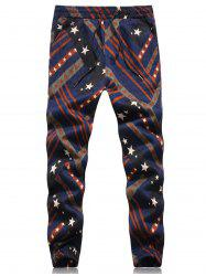 Stars and Stripes Embossing Jogger Pants - COLORMIX L