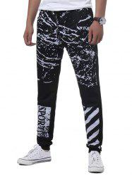 Splatter Paint Stripe Graphic Print Jogger Pants - Noir XL