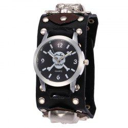 Gothic Style Rivet Skull Number Watch - BLACK