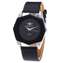 Faux Leather Strap Octagon Watch - BLACK