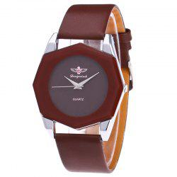 Faux Leather Strap Octagon Watch - BROWN