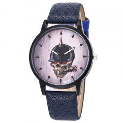 Smoking Skull Face Faux Leather Watch - DEEP BLUE