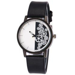 Gear Pattern Faux Leather Strap Watch -