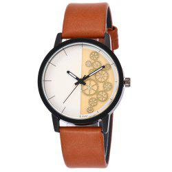 Gear Pattern Faux Leather Strap Watch - ORANGE