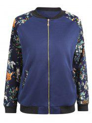 Plus Size Floral Printed Raglan Sleeve  Jacket - BLUE 3XL