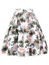 A Line Pineapple Pleated Skirt - WHITE 2XL