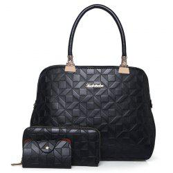 3 Pieces Metal Quilted Tote Bag Set - BLACK