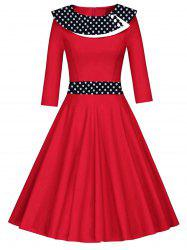 Vintage Polka Dot Fit and Flare Skater Dress -