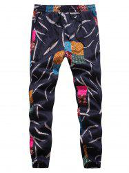 Leaves and Patches Embossing Jogger Pants - COLORMIX 4XL