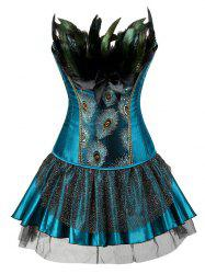 Layered Two Piece Corset Dress with Feather -