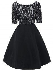 Boat Neck Lace Panel A Line Dress -