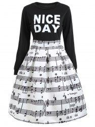 Flare Dressd with Music Note Print -