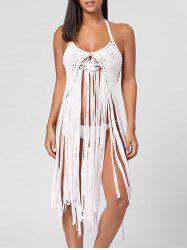 Long Fringe Crochet Cover Up -