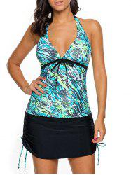 Halter Printed Skirted Tankini Set -