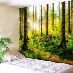 Sunshine Forest Deer Printed Wall Tapestry -