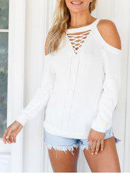 Cold Shoulder Criss Cross Sweater -