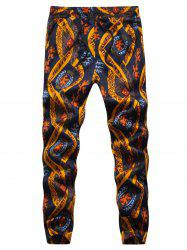 Ethnic Style Print Embossing Jogger Pants -