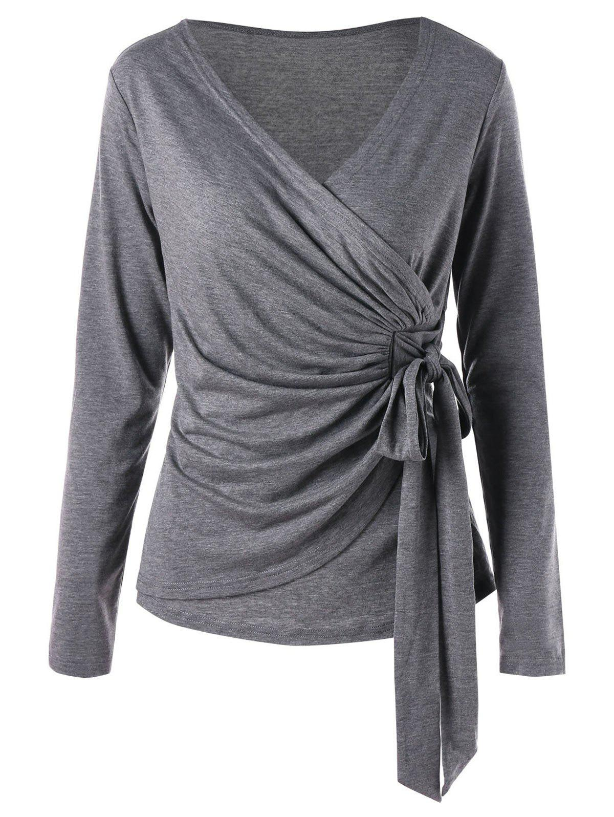 Overlap Self Tie Surplice TopWOMEN<br><br>Size: 2XL; Color: PEARL DARK GREY; Material: Rayon,Spandex; Shirt Length: Regular; Sleeve Length: Full; Collar: V-Neck; Style: Casual; Pattern Type: Solid Color; Season: Fall,Spring; Weight: 0.3100kg; Package Contents: 1 x Top;