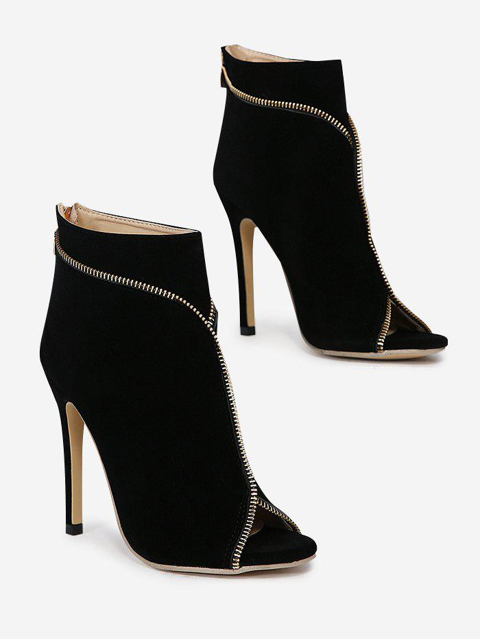 Zip Embellished Stiletto Heel Peep Toe Boots