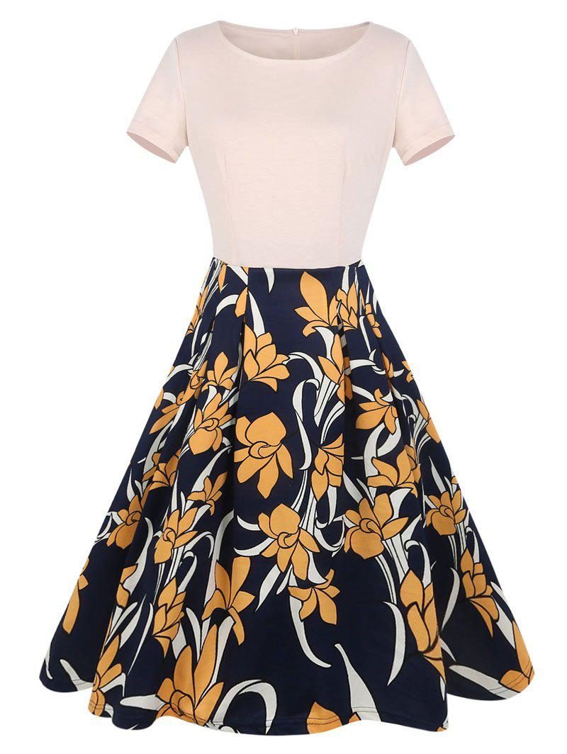 Affordable Short Sleeve Print Knee Length Dress