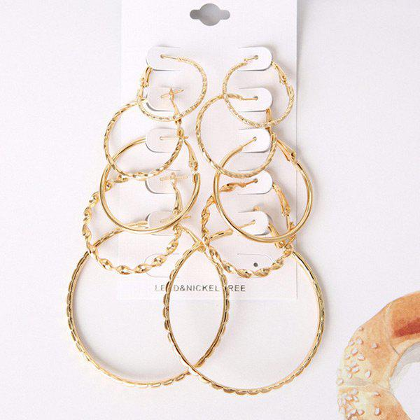 5 Pairs of Multisize Hoop EarringsJEWELRY<br><br>Color: GOLDEN; Earring Type: Hoop Earrings; Gender: For Girls,For Women; Metal Type: Alloy; Style: Hipster; Shape/Pattern: Round; Weight: 0.0700kg; Package Contents: 5 x Earrings(Pairs);
