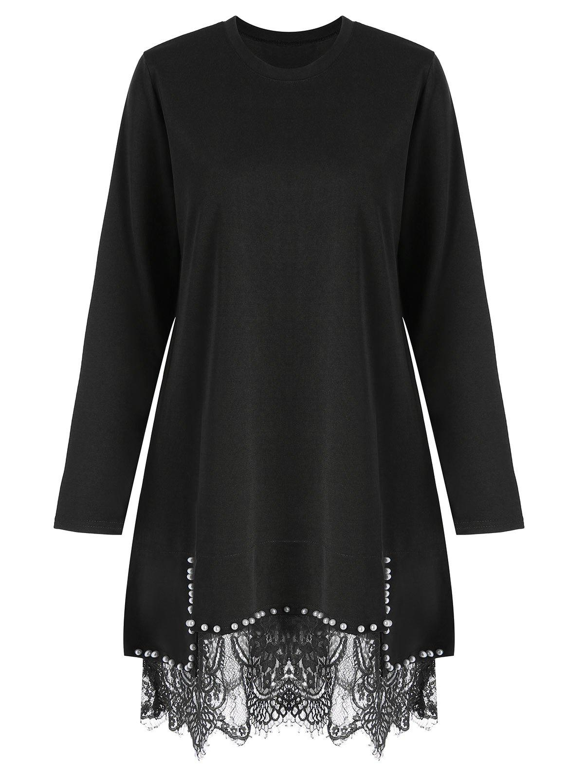 Plus Size Lace Trim Faux Pearl Tunic DressWOMEN<br><br>Size: 5XL; Color: BLACK; Style: Casual; Material: Cotton,Polyester; Silhouette: Sheath; Dresses Length: Knee-Length; Neckline: Round Collar; Sleeve Length: Long Sleeves; Embellishment: Lace,Pearls; Pattern Type: Solid; With Belt: No; Season: Fall; Weight: 0.4200kg; Package Contents: 1 x Dress;