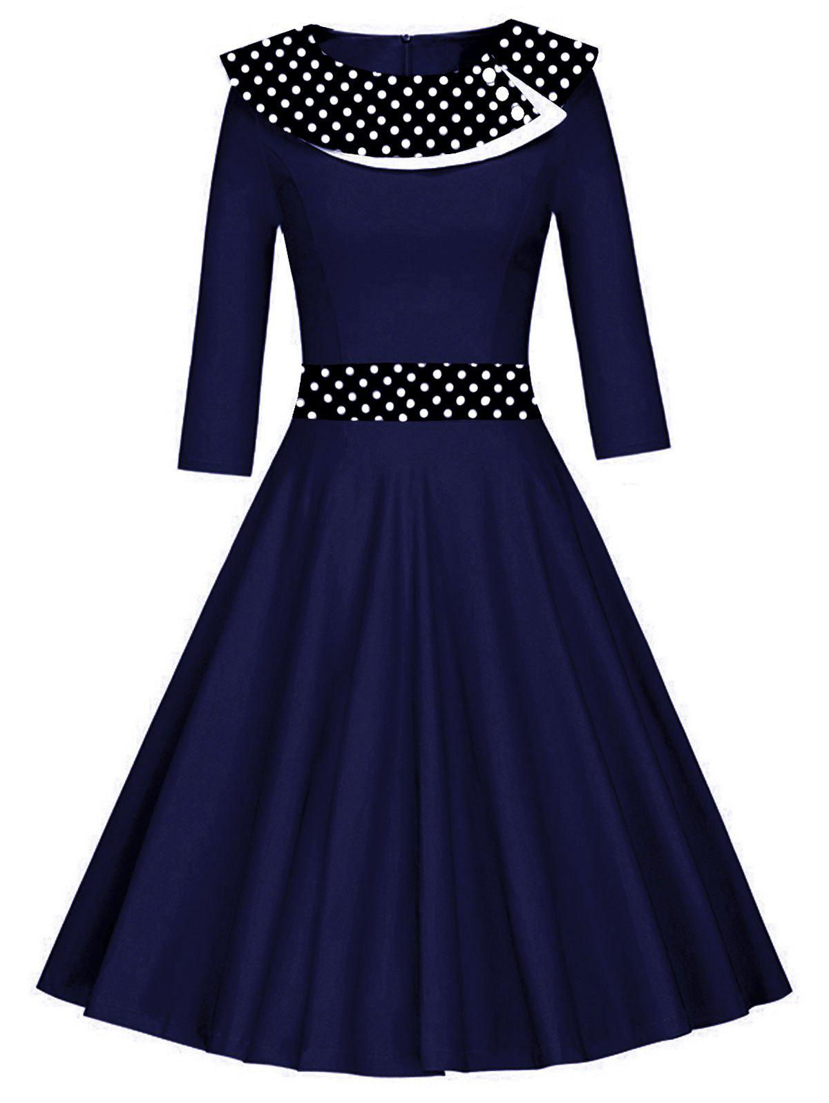 Store Vintage Polka Dot Fit and Flare Skater Dress