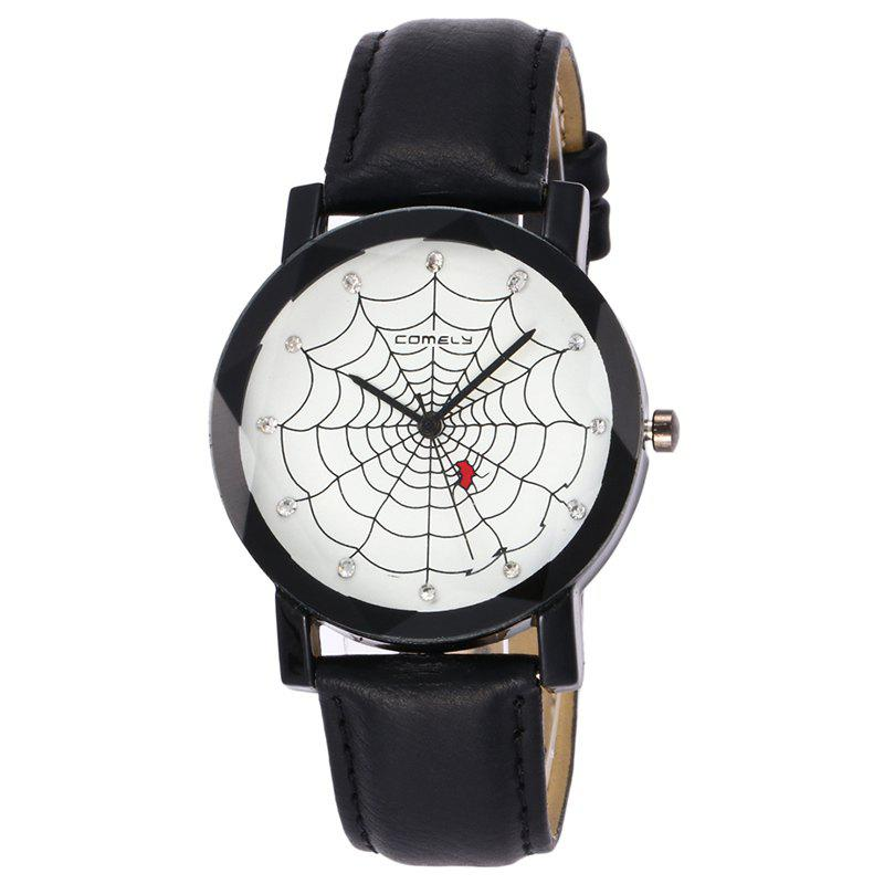 Spider Web Face Faux Leather WatchJEWELRY<br><br>Color: BLACK; Gender: For Women; Style: Fashion; Type: Quartz watch; Index Dial: Analog; Case material: Alloy; Band material: PU Leather; Movement: Quartz; Dial Shape: Round; Water-Proof: No; Case Thickness(MM): 10mm; Dial Diameter: 4cm; Band Length(CM): 24cm; Band Width(CM): 1.8cm; Package Contents: 1 x Watch;