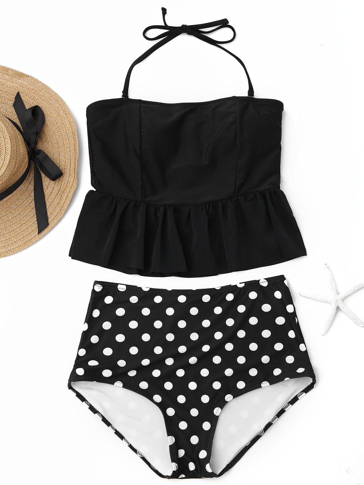 Chic Peplum High Waisted Polka Dot Tankini Set