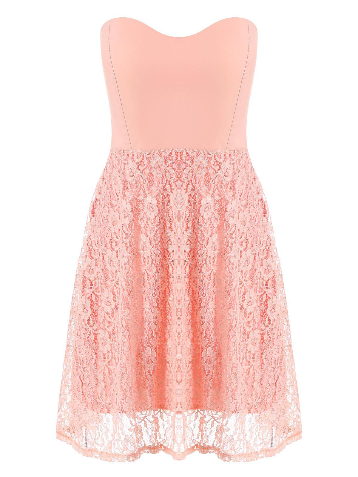 Buy Lace Strapless Sleeveless Mini Cocktail Dress