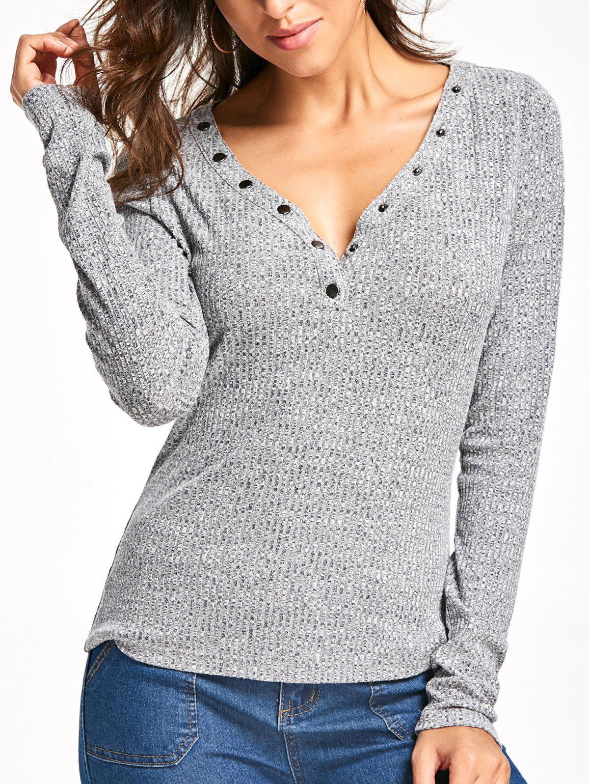 Long Sleeve Button V Neck Ribbed TopWOMEN<br><br>Size: XL; Color: GRAY; Material: Cotton Blends,Polyester,Spandex; Shirt Length: Regular; Sleeve Length: Full; Collar: V-Neck; Style: Fashion; Pattern Type: Solid; Season: Fall,Spring; Weight: 0.2540kg; Package Contents: 1 x Top;