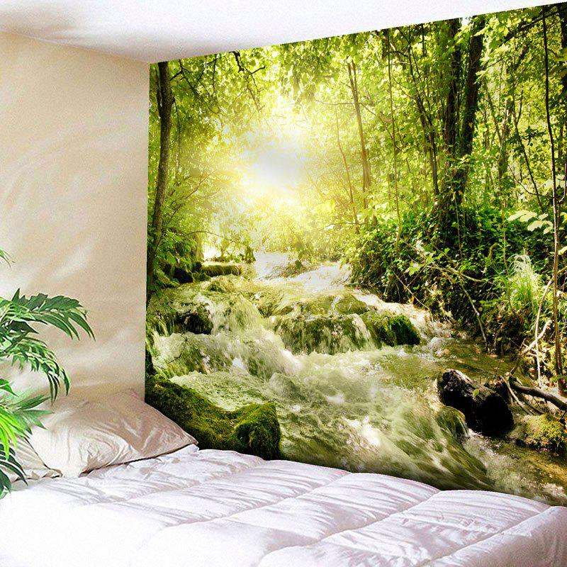 Wall Hanging Forest Stream Pattern TapestryHOME<br><br>Size: W79 INCH * L59 INCH; Color: GREEN; Style: Natural; Theme: Landscape; Material: Cotton,Polyester; Feature: Removable,Washable; Shape/Pattern: Forest,Tree,Water; Weight: 0.2900kg; Package Contents: 1 x Tapestry;
