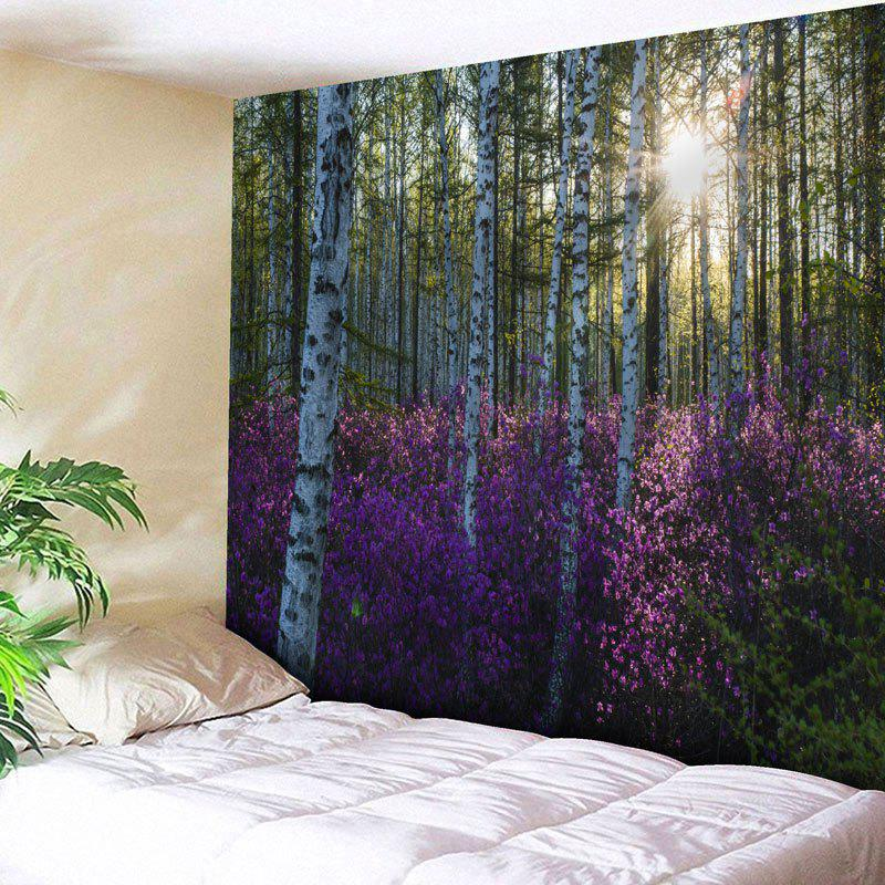Forest Tree Flower Printed Wall TapestryHOME<br><br>Size: W91 INCH * L71 INCH; Color: PURPLE; Style: Natural; Theme: Landscape; Material: Cotton,Polyester; Feature: Removable,Washable; Shape/Pattern: Floral,Forest,Plant; Weight: 0.3950kg; Package Contents: 1 x Tapestry;