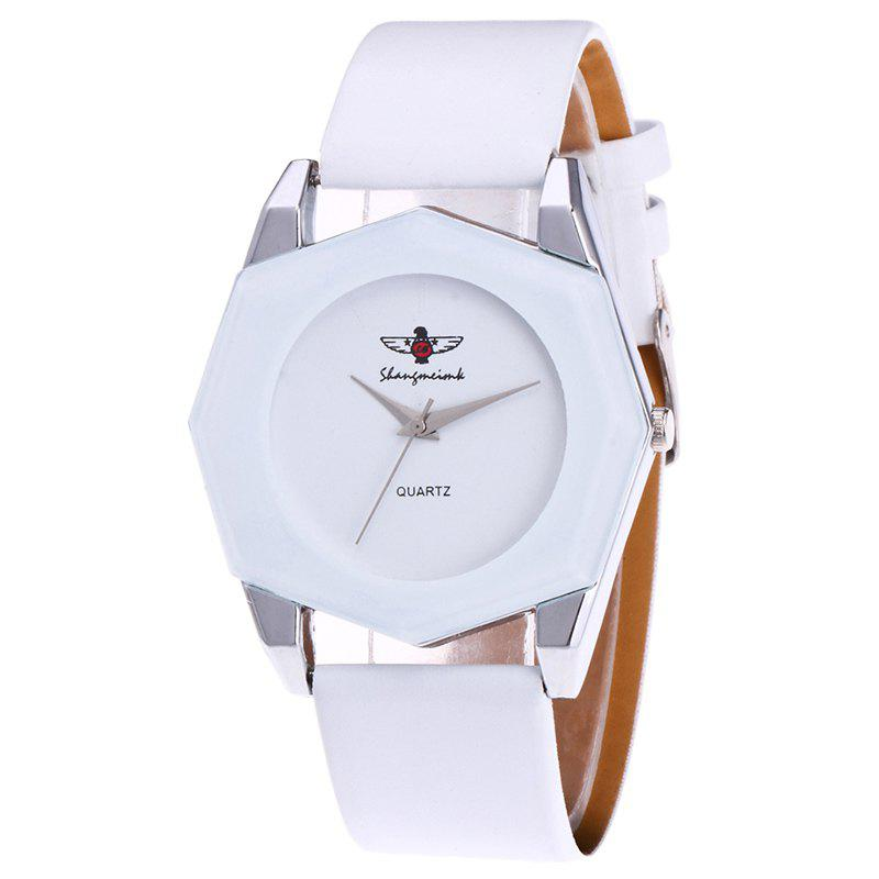 Faux Leather Strap Octagon WatchJEWELRY<br><br>Color: WHITE; Gender: For Women; Style: Casual; Type: Quartz watch; Index Dial: Analog; Case material: Alloy; Band material: PU Leather; Movement: Quartz; Dial Shape: Others; Water-Proof: No; Case Thickness(MM): 6mm; Dial Diameter: 4.5cm; Band Length(CM): 25cm; Band Width(CM): 2.3cm; Package Contents: 1 x Watch;