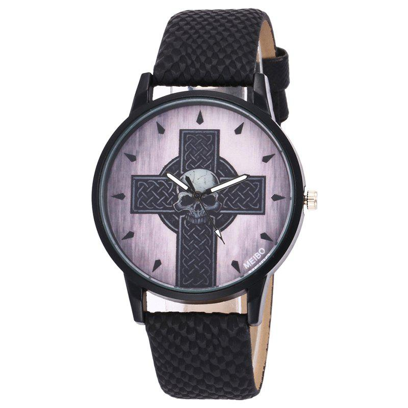Faux Leather Strap Cross Skull WatchJEWELRY<br><br>Color: BLACK; Gender: For Men; Style: Fashion; Type: Quartz watch; Index Dial: Analog; Case material: Alloy; Band material: PU Leather; Movement: Quartz; Dial Shape: Round; Water-Proof: No; Case Thickness(MM): 10mm; Dial Diameter: 4cm; Band Length(CM): 24cm; Band Width(CM): 1.8cm; Package Contents: 1 x Watch;