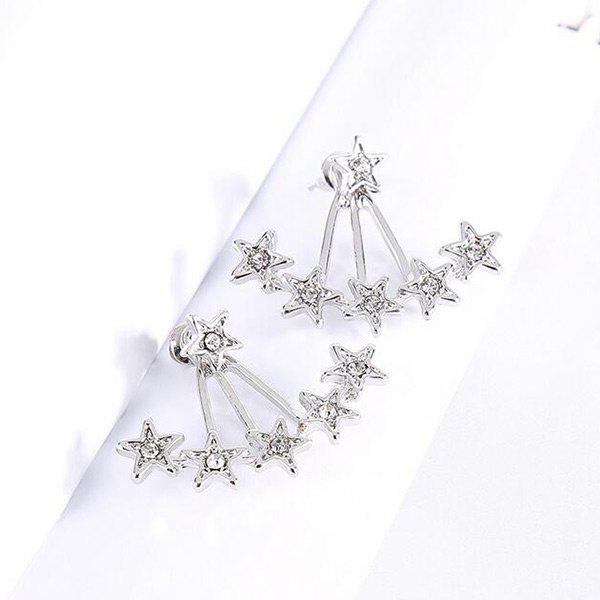 Rhinestone Stars Ear JacketsJEWELRY<br><br>Color: SILVER; Earring Type: Earring Jackets; Gender: For Girls,For Women; Material: Rhinestone; Metal Type: Alloy; Style: Hipster; Shape/Pattern: Star; Weight: 0.0300kg; Package Contents: 1 x Ear Jackets(Pair);