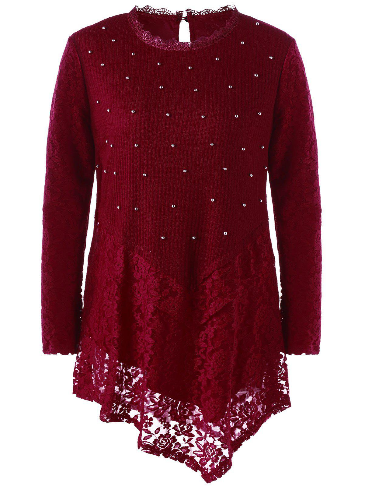Faux Pearl Plus Size Lace Asymmetric TopWOMEN<br><br>Size: 5XL; Color: WINE RED; Material: Polyester,Spandex; Shirt Length: Long; Sleeve Length: Full; Collar: Crew Neck; Style: Fashion; Season: Fall,Spring; Embellishment: Pearls; Pattern Type: Solid; Weight: 0.3200kg; Package Contents: 1 x Top;