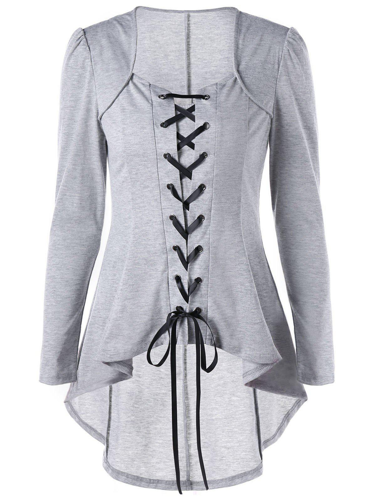 High Low Hem Lace Up TopWOMEN<br><br>Size: L; Color: LIGHT GREY; Material: Polyester,Spandex; Shirt Length: Long; Sleeve Length: Full; Collar: Square Neck; Style: Gothic; Pattern Type: Solid; Season: Fall,Spring; Weight: 0.3000kg; Package Contents: 1 x Top;