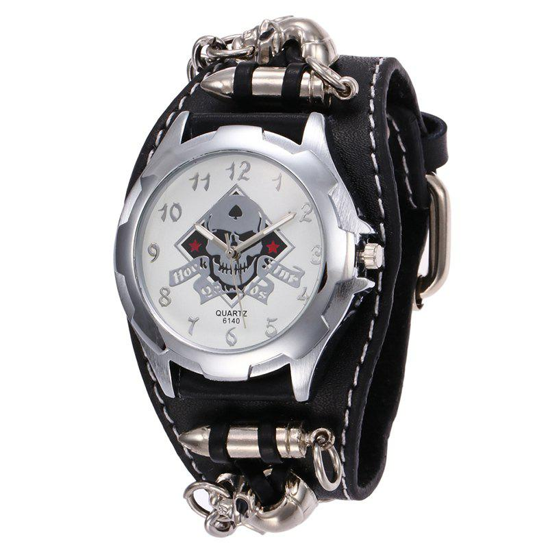 Gothic Style Skull Bullet Number WatchJEWELRY<br><br>Color: BLACK; Gender: For Men; Style: Retro; Type: Quartz watch; Index Dial: Analog; Case material: Alloy; Band material: PU Leather; Movement: Quartz; Dial Shape: Round; Water-Proof: No; Case Thickness(MM): 6mm; Dial Diameter: 4cm; Band Length(CM): 23cm; Band Width(CM): 2.5cm; Package Contents: 1 x Watch;
