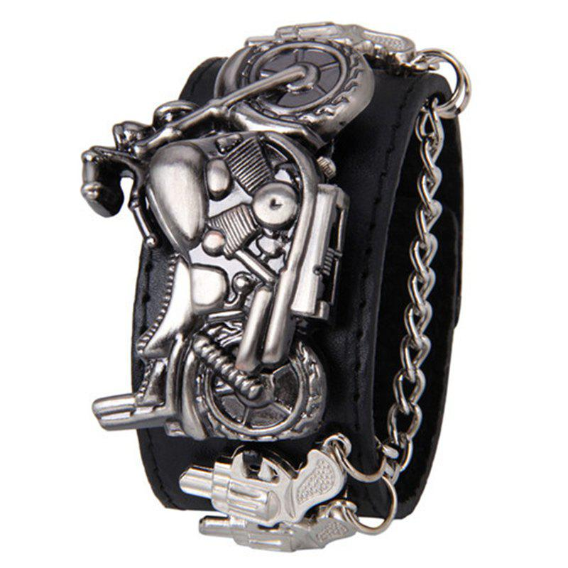 Gothic Style Motorcycle Number Quartz WatchJEWELRY<br><br>Color: BLACK; Gender: For Men; Style: Retro; Type: Quartz watch; Index Dial: Analog; Case material: Alloy; Band material: PU Leather; Movement: Quartz; Dial Shape: Others; Water-Proof: No; Case Thickness(MM): 8mm; Dial Diameter: 2cm; Band Length(CM): 21cm; Band Width(CM): 4cm; Package Contents: 1 x Watch;