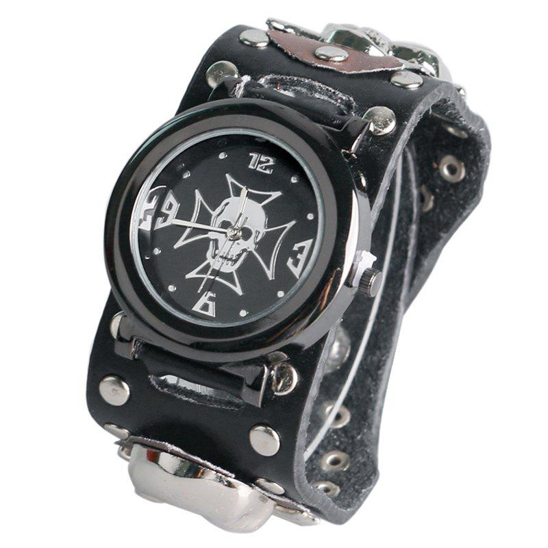 Gothic Style Skull Rivet Number WatchJEWELRY<br><br>Color: BLACK; Gender: For Men; Style: Retro; Type: Quartz watch; Index Dial: Analog; Case material: Alloy; Band material: PU Leather; Movement: Quartz; Dial Shape: Round; Water-Proof: No; Case Thickness(MM): 10mm; Dial Diameter: 4cm; Band Length(CM): 24cm; Band Width(CM): 3.6cm; Package Contents: 1 x Watch;