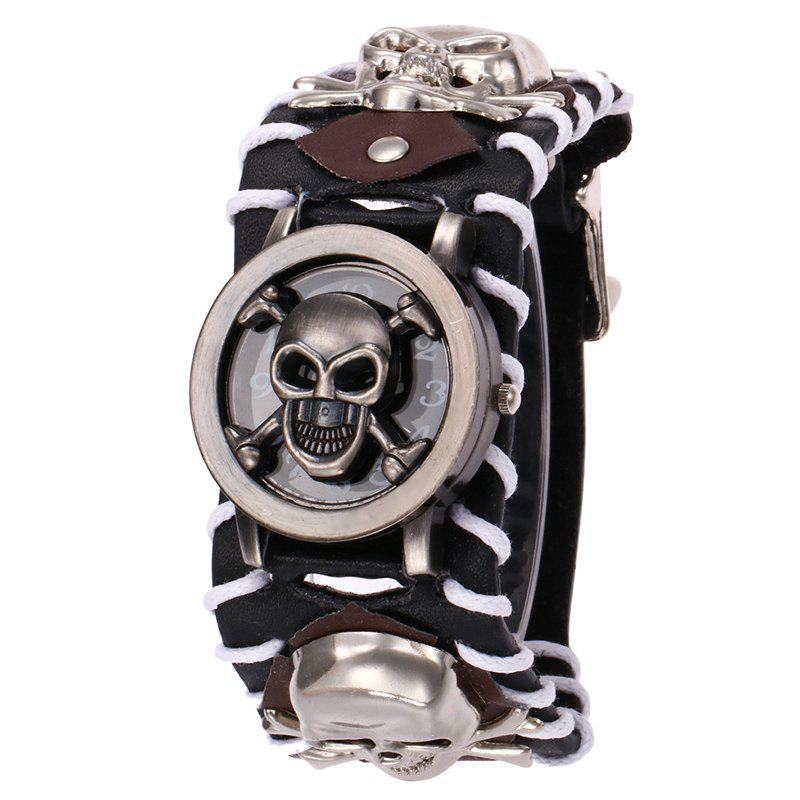 Gothic Style Skull Number Quartz WatchJEWELRY<br><br>Color: BLACK; Gender: For Men; Style: Fashion; Type: Quartz watch; Index Dial: Analog; Case material: Alloy; Band material: PU Leather; Movement: Quartz; Dial Shape: Round; Water-Proof: No; Case Thickness(MM): 10mm; Dial Diameter: 3.8cm; Band Length(CM): 26cm; Band Width(CM): 2cm; Package Contents: 1 x Watch;