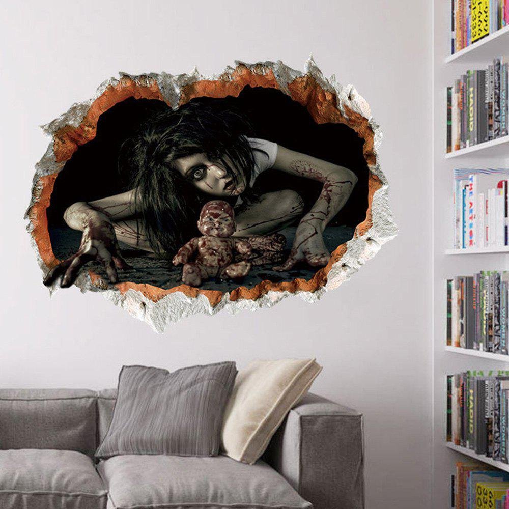 Halloween Zombie 3D Broken Wall Sticker For Living RoomHOME<br><br>Color: BLACK; Wall Sticker Type: 3D Wall Stickers; Functions: Decorative Wall Stickers; Theme: Halloween; Pattern Type: 3D; Material: PVC; Feature: Removable; Size(L*W)(CM): 60*45cm; Weight: 0.1440kg; Package Contents: 1 x Wall Sticker;