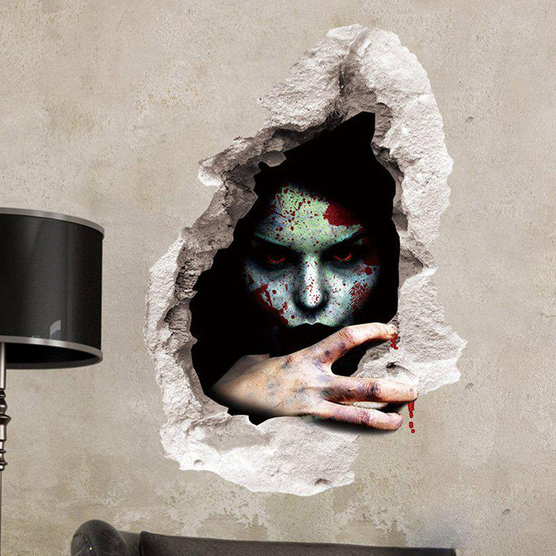 Fashion Scary Ghost 3D Broken Wall Sticker For Bedroom