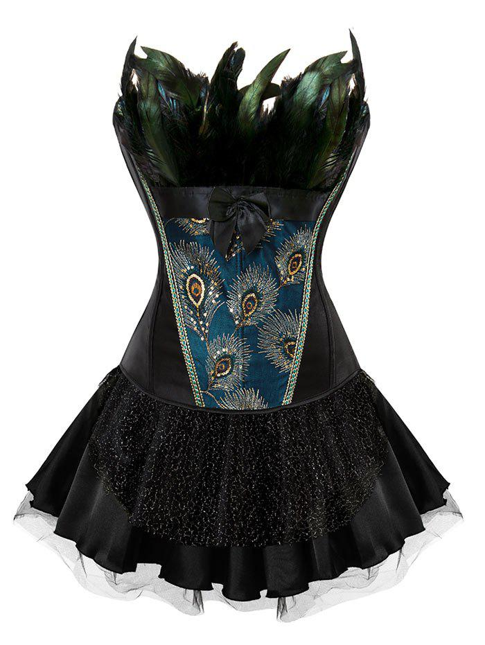 Affordable Layered Two Piece Corset Dress with Feather