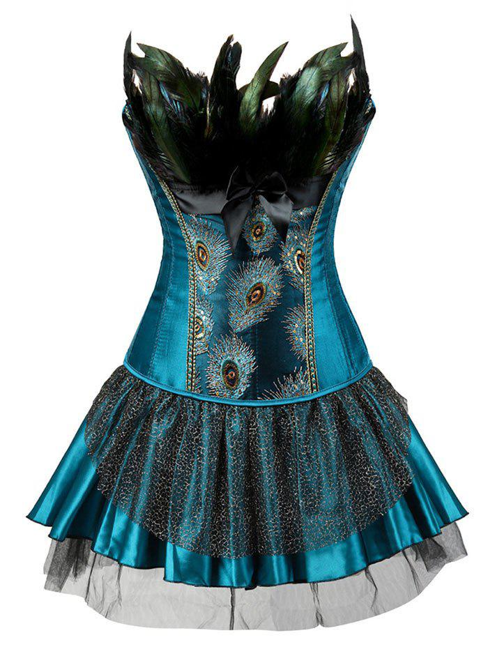 Layered Two Piece Corset Dress with FeatherWOMEN<br><br>Size: 2XL; Color: LAKE BLUE; Material: Polyester; Pattern Type: Others; Embellishment: Feathers,Sequins; Weight: 0.3200kg; Package Contents: 1 x Corset  1 x Skirt  1 x T-back;